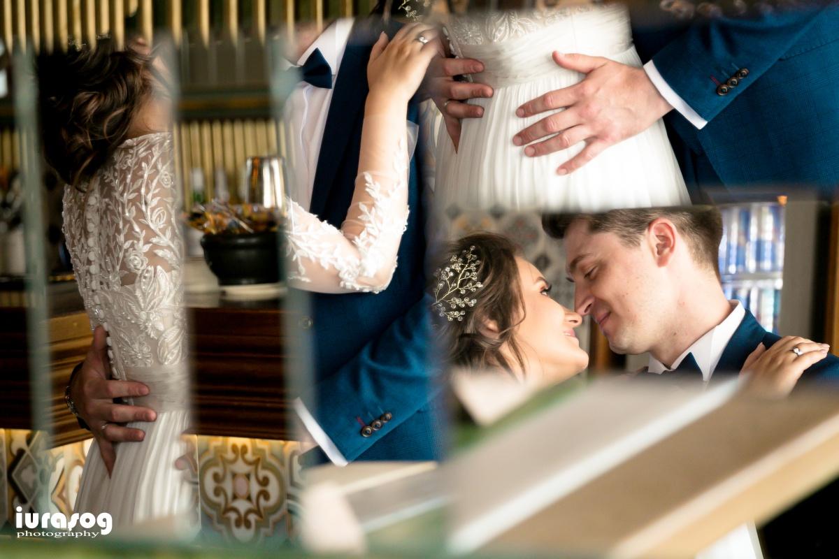 fotografie de nunta Craiova reflexii oglina miri